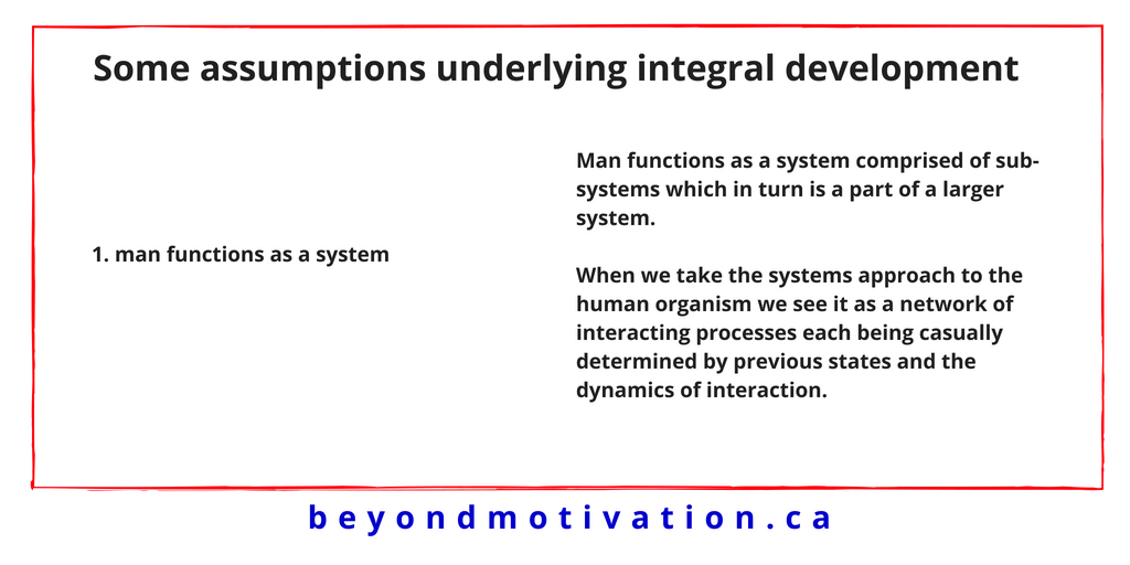 1. man functions as a system - integral development - Beyond Motivation