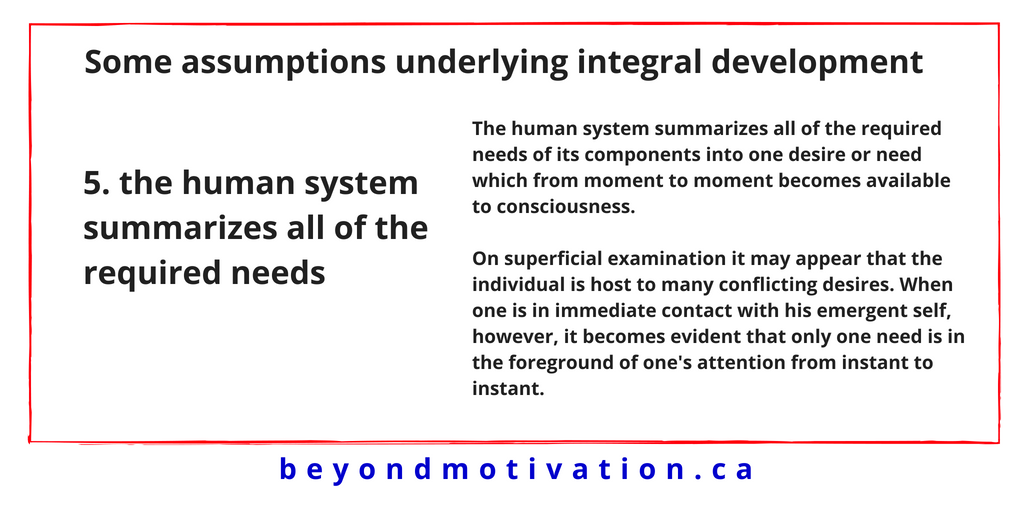 5. the human system summarizes all of the required needs - James T. McCay - Beyond Motivation